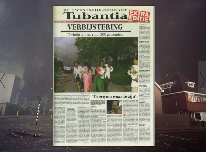 De extra uitgave van de krant na de vuurwerkramp.