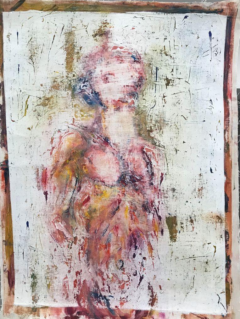 Werk van Hamza Halloubi dat te zien is op de expositie Seuls mes yeux resteront pour surveiller en hanter, et changer vos rêves en chaos. Beeld tegenboschvanvreden