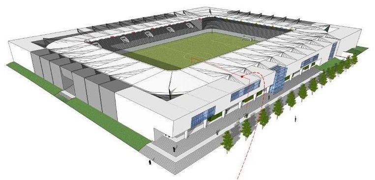 Een beeld van hoe het Lommelse voetbalstadion er zou gaan uitzien.