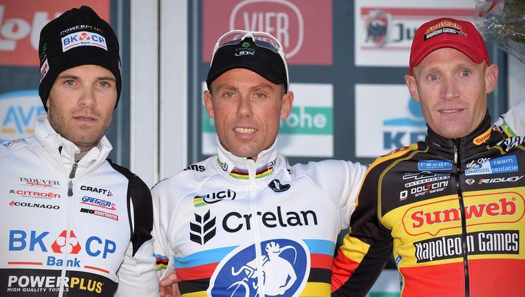 Wereldkampioen Nys won voor Albert (l) en Belgisch kampioen Vantornout. Beeld BELGA