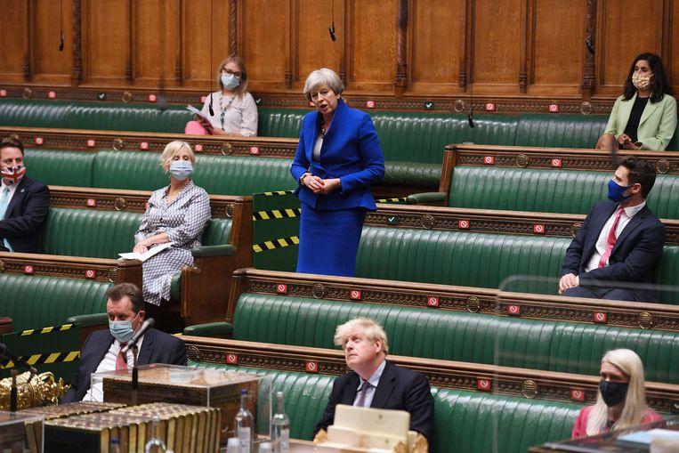 Theresa May in het Lagerhuis. Beeld AP