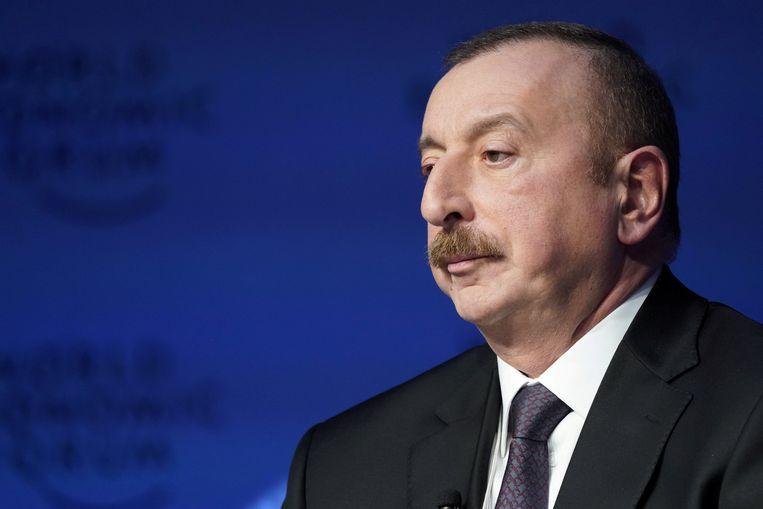 Ilham Aliyev - aan de macht sinds 2003 - werd vorige week woensdag met een monsterscore herverkozen. Beeld REUTERS