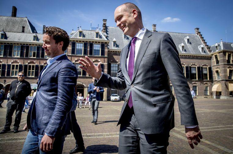 Gert Jan Segers arriveert op het Binnenhof voor een gesprek met informateur Edith Schippers.  Beeld ANP