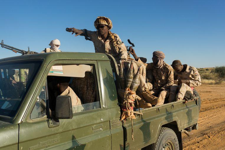 Rapid Support Forces onderweg van Kutum naar Zurrug, Noord-Darfur, Soedan, december 2019. Beeld Klaas van Dijken
