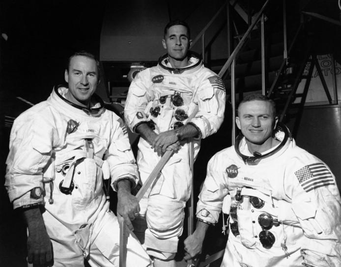 Een foto uit 1968, met astronauten James Lovell, William Anders en Frank Borman.