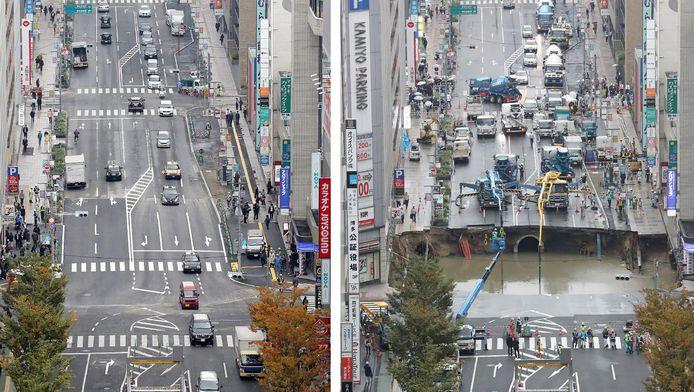 Links: de weg zoals hij er vandaag uitziet, volledig gerepareerd. Rechts: het kruispunt op de dag dat het sinkhole ontstond.