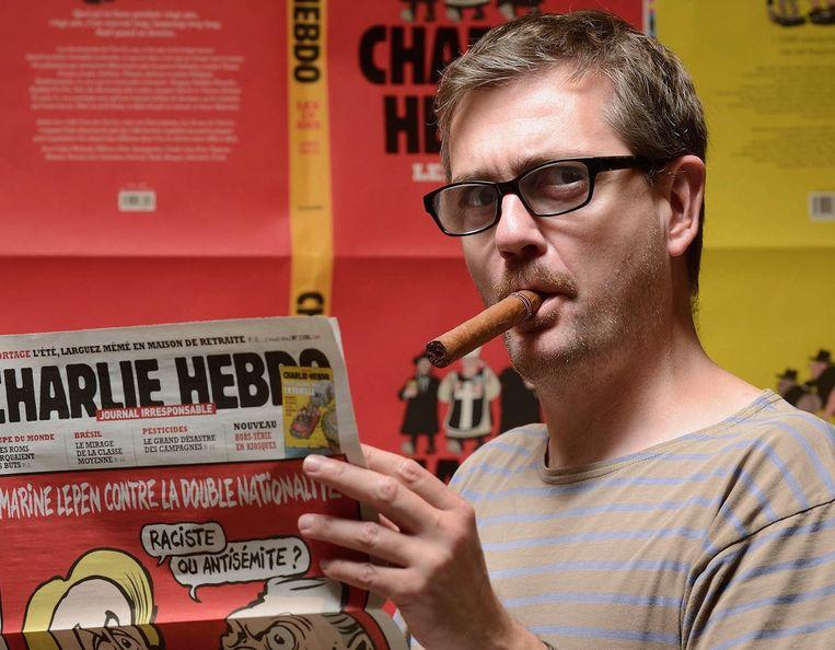 Charb, een van de slachtoffers van de aanslag. Beeld afp