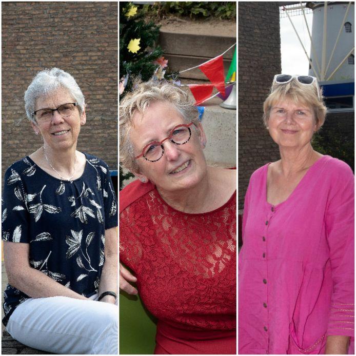 Juffen Marjo, Riet en Herma (vlnr) gaan met pensioen