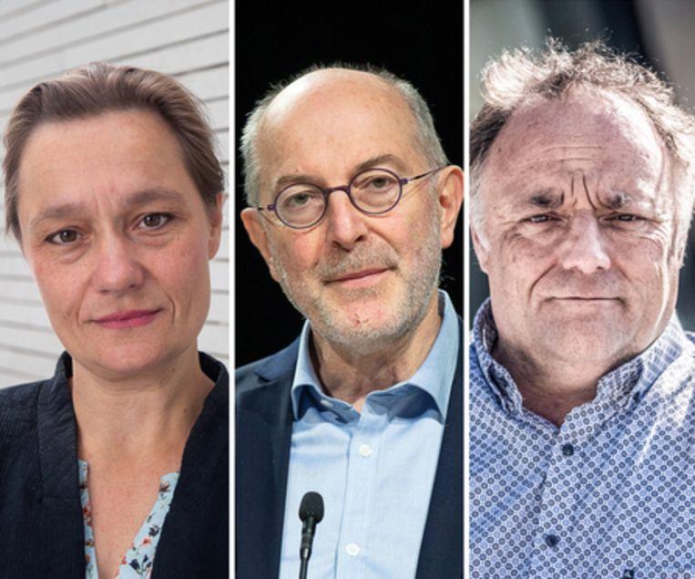 Erika Vlieghe, Pierre Van Damme en Marc Van Ranst. Beeld Belga, Bart Leye
