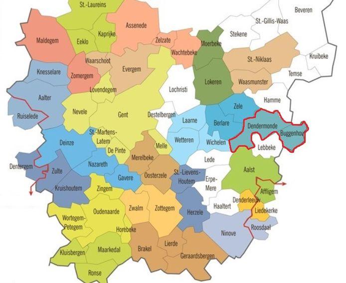 Een fusie tussen Dendermonde en Buggenhout zou er op de kaart van Oost-Vlaanderen zo uitzien.
