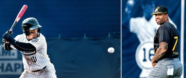 Links: Dwayne Kemp van Neptunes is aan slag, rechts: Kalian Sams van de Pirates uit Amsterdam is geblesseerd en speelt niet mee. Beeld Klaas Jan van der Weij