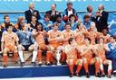 Oranje viert het behalen van het Europees kampioenschap in 1988.