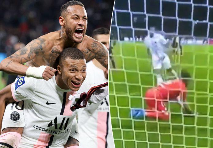 Links: Neymar en Mbappé vieren de zege. Rechts: Mbappé roept Metz-keeper Oukidja iets toe, waarna die als door een wesp gestoken reageert.