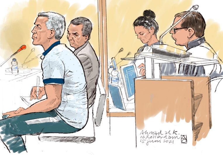 Rechtbanktekening van verdachte Ahmad Al K. Beeld ALOYS OOSTERWIJK /  ANP