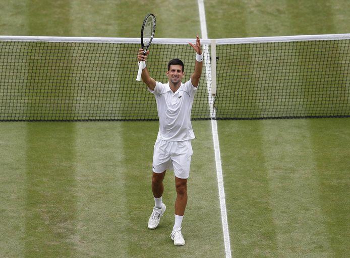 Novak Djokovic celebrates winning the Gentlemen's Singles Final on day thirteen of Wimbledon at The All England Lawn Tennis and Croquet Club, Wimbledon. Picture date: Sunday July 11, 2021. ! only BELGIUM !