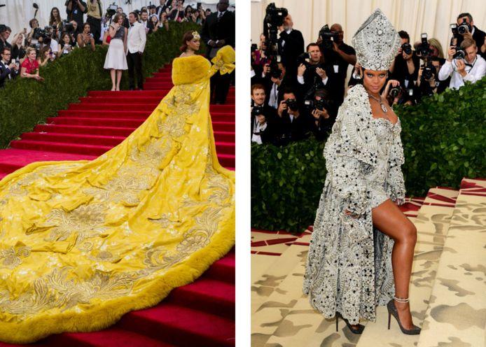 Rihanna in 2015 en 2018 op het Met Gala.