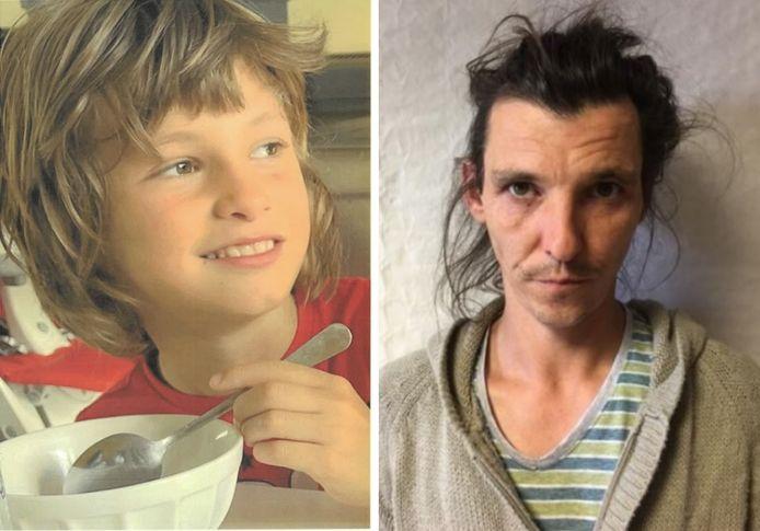 Links: de ontvoerde zoon Dewi (8). Rechts: vader Grégoire H.