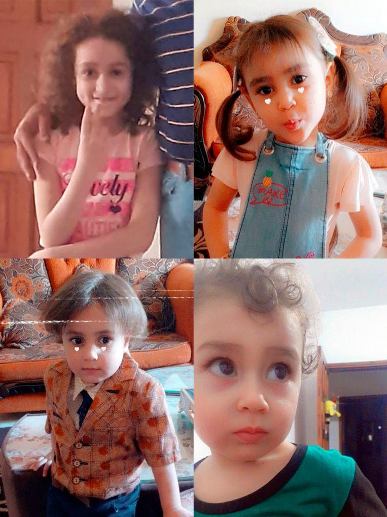 De zussen en broers Dana, Lana, Yahya en Zain Ishkontana waren op weg om snoep te kopen. Toen vond een luchtaanval plaats. Beeld NYT