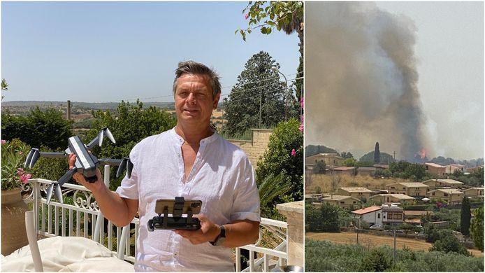 Hoteluitbater Tom Van Compernolle, met zijn drone. Rechts een natuurbrand eerder dit jaar, nabij Noto op Sicilië