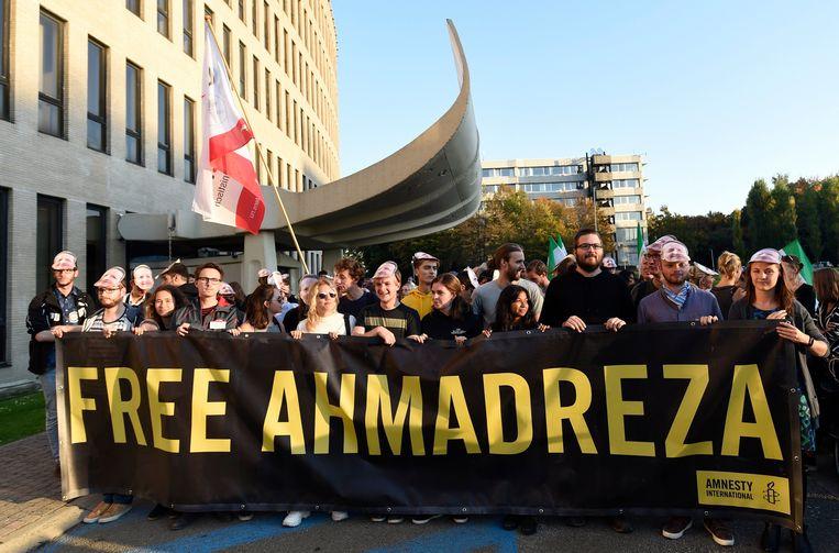 Protestmars georganiseerd door Amnesty International voor professor aan de VUB Ahmadreza Djalali, die in Teheran ter dood is veroordeeld