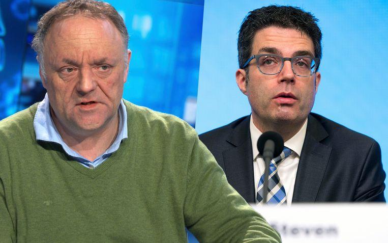 Virologen Marc van Ranst en Steven Van Gucht kregen allebei hoge waarderingscijfers van de ondervraagden. Beeld VTM NIEUWS / Photo News