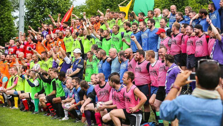 Deelnemers van de Gay Rugby Championship in Berlijn. Beeld afp