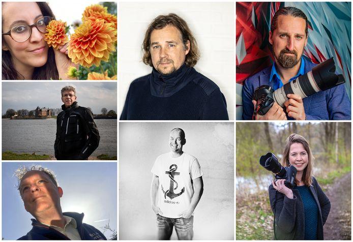 De zeven fotografen die meedoen aan de Fotoacademie en de komende tips geven bij de foto-opdrachten.