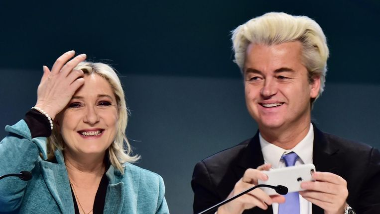 Marine Le Pen en Geert Wilders. Beeld afp
