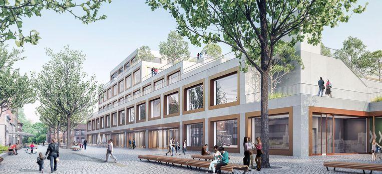 Het Belgische Besix Red ontwierp een gebouw met een park op de daken.