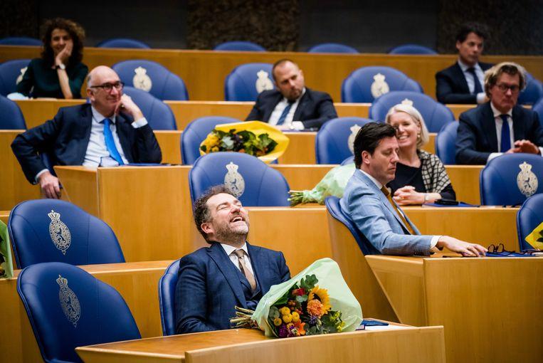 Klaas Dijkhoff (VVD) tijdens het afscheid van de oude kamerleden. Beeld ANP