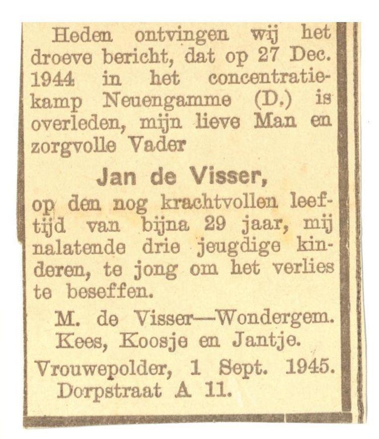 Overlijdensadvertentie in de Provinciale Zeeuwsche Courant. Beeld .
