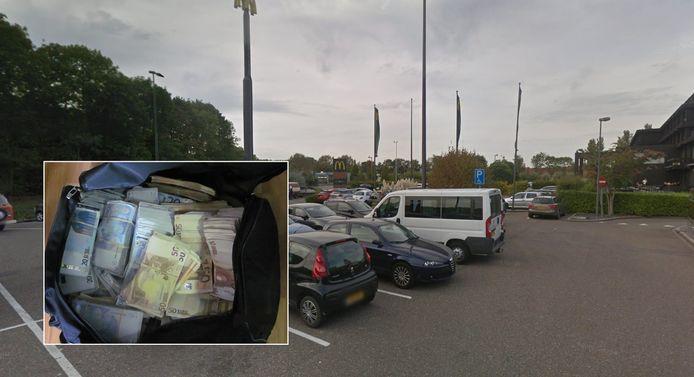 De tas met geld werd op het parkeerterrein bij het Postillion Hotel en de McDonald's in Dordrecht overgeladen. Foto ter illustratie.