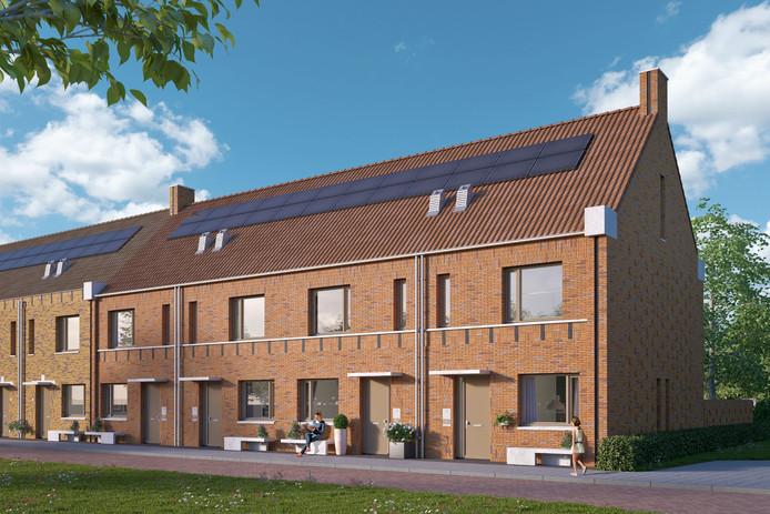 Het ontwerp van de woningen die in Orthen-Links komen.