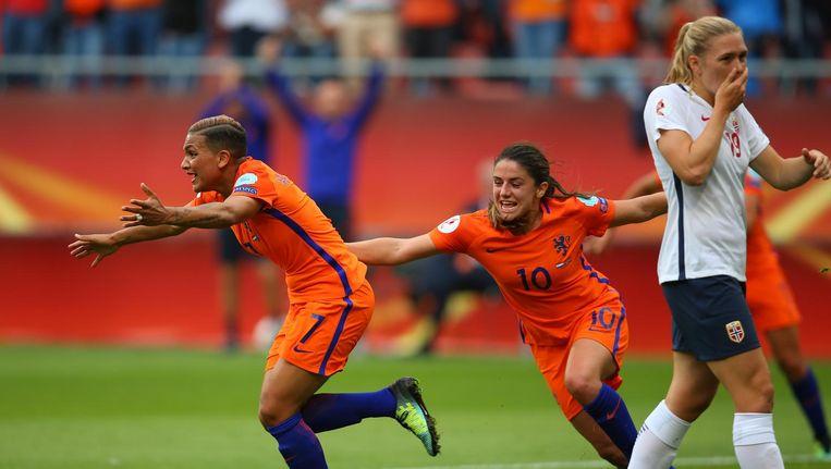 Vreugde na de 1-0 tegen Noorwegen. Beeld getty