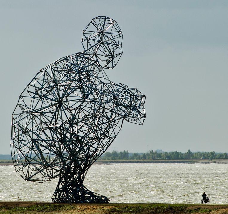 Een fietser pauzeert vrijdag op de strekdam in Lelystad bij het enorme kunstwerk Exposure van de Britse kunstenaar Antony Gormley op de strekdam in Lelystad. De ruim 25 meter hoge reus, die vrijdag onthuld werd, kijkt uit over het Markermeer. Beeld ANP