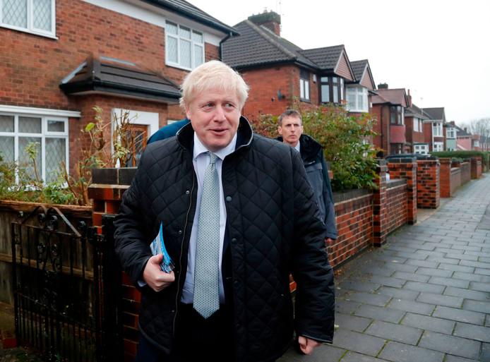 Boris Johnson ging vandaag in Mansfield de huizen af om stemmen te winnen.