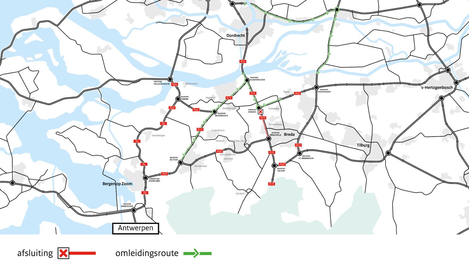Van 20 maart 21.00 uur tot 23 maart 05.00 uur is de A16 afgesloten tussen knooppunt Zonzeel en knooppunt Princeville, in de richting van Antwerpen.