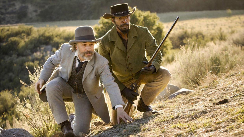 Christoph Waltz en Jamie Foxx in 'Django Unchained'. Beeld IMDB