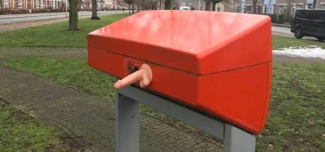 Mysterie: dildo-plakker heeft het voorzien op deze brievenbus in Nijmegen