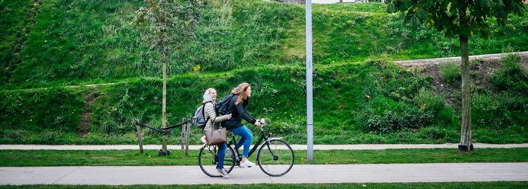 De groene omgeving van Park Spoor Noord in Antwerpen. Beeld