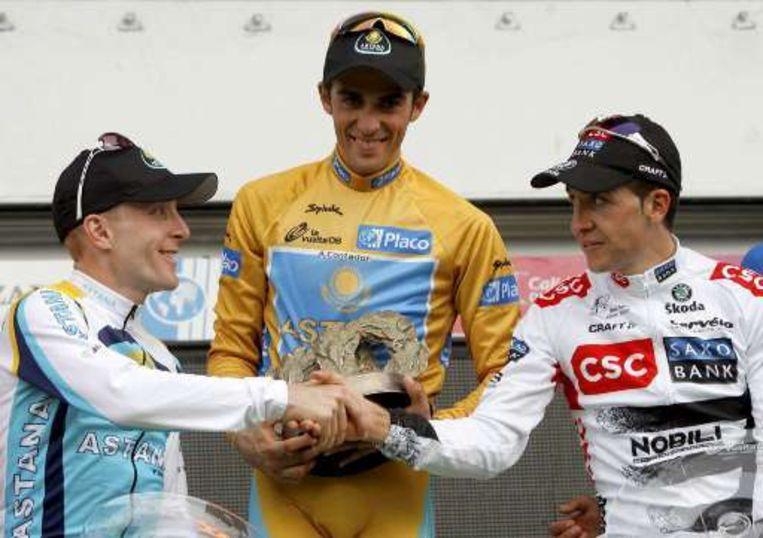 Het Vuelta-podium, met Leipheimer, Contador en Sastre. Beeld UNKNOWN