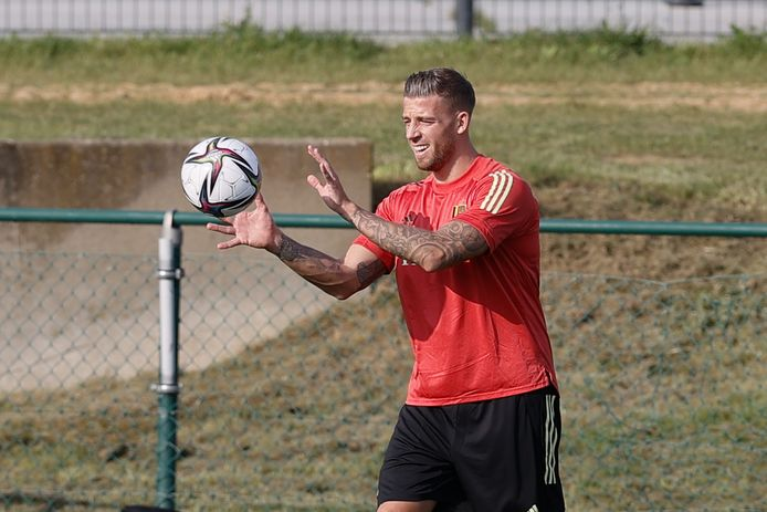 Belgium's Toby Alderweireld pictured during a training session of Belgian national soccer team Red Devils to prepare three qualification games for the 2022 World Cup, Tuesday 31 August 2021 in Tubize. BELGA PHOTO BRUNO FAHY