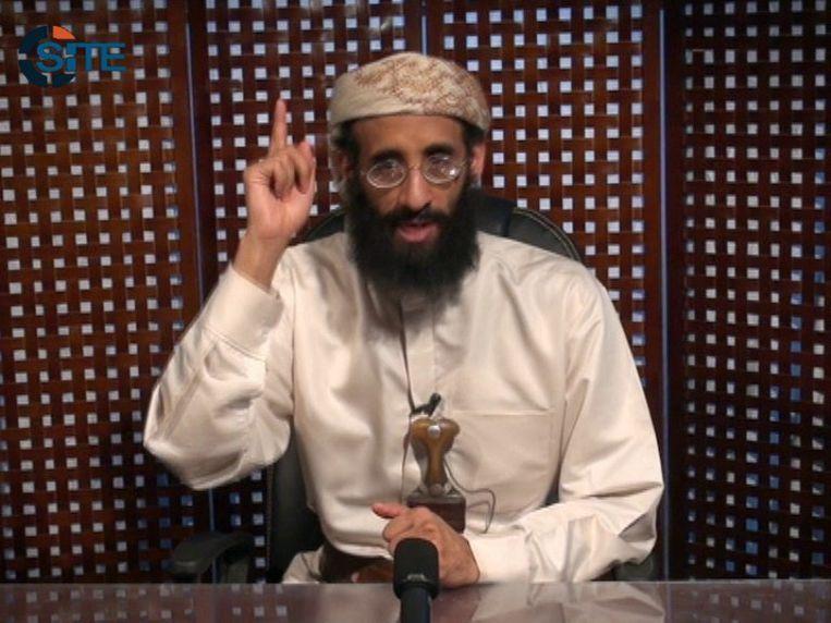 Anwar al-Awlaki in een videoboodschap. Beeld EPA