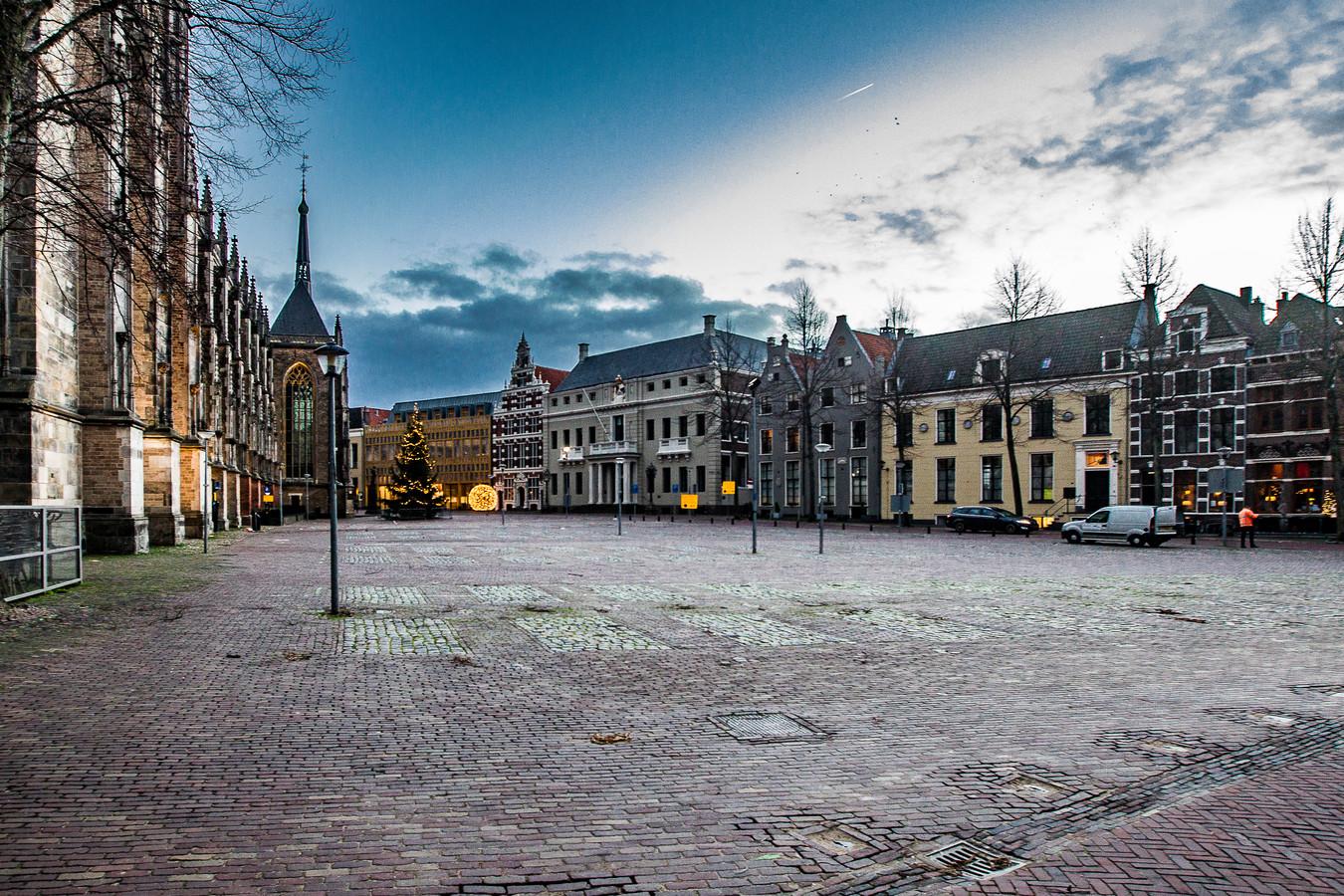 Het Grote Kerkhof in Deventer afgelopen winter.