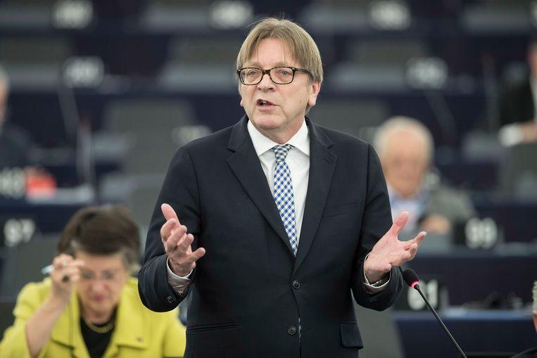 Guy Verhofstadt, brexitonderhandelaar voor het Europees Parlement. Beeld AP