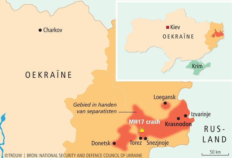 Het oorlogsgebied in het oosten van Oekraïne rond de door de separatisten uitgeroepen 'Volksrepublieken' van Donetsk en Loegansk. Beeld Trouw