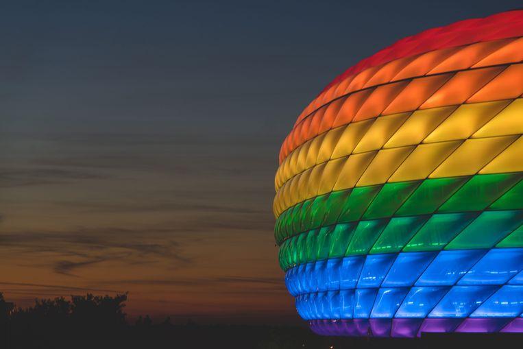 De Allianz Arena in regenboogkleuren. Beeld Piqsels