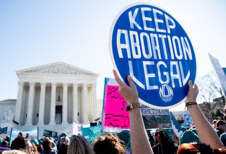 Pro-abortus-activisten tijdens een protest eerder dit jaar in Texas. Beeld AFP