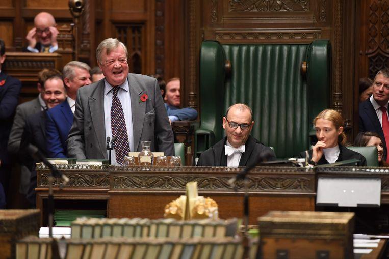 Kenneth Clarke diende als interim-parlementsvoorzitter totdat een vervanger van Bercow was aangeduid. Beeld AFP