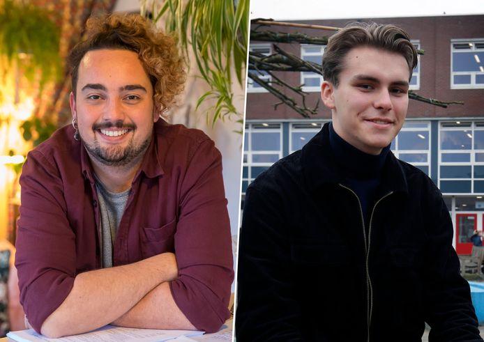 Docent Brendan Vos (links) en leerling Joris de Bruin (rechts) over Paarse Vrijdag.